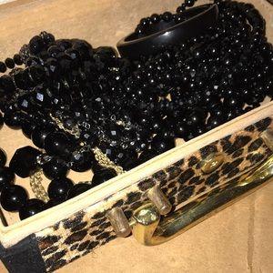 Black vintage jewelry bundle/ w box